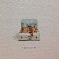 miniature watercolor suitcases travel adventure