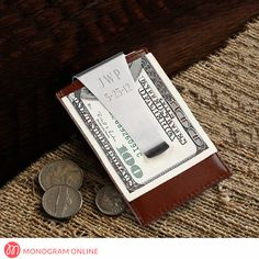 Personalized Leather Money Clip and Card Holder - Monogram Online