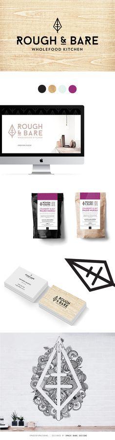 Rough & Bare Wholefood Kitchen branding by Smack Bang Designs #Branding #BusinessCards #Logotype  # Webdesign #Packaging #Mural #SmackBangDesigns #madebysmackbang
