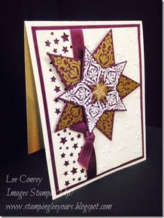 Stampin' Up! ... handmade Christmas card ...  Bright and Beautiful embossed stars in die cut layering ... purple, gold and vanilla ... gorgeous!