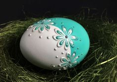 Duck Egg Pysanka in Aqua Hand Painted Easter Egg Wax Egg Crafts, Easter Crafts, Rock Flowers, Easter Egg Designs, Painted Shells, Rock Decor, Polymer Clay Necklace, Egg Art, Egg Decorating