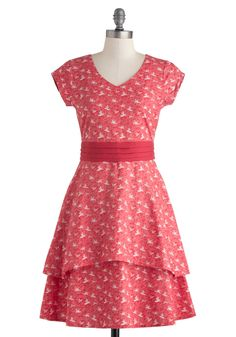 I Crane, I Saw, I Conquered Dress in Red by Mata Traders - Mid-length, Cotton, Red, White, Print, Tiered, Casual, A-line, Cap Sleeves, V Neck, Spring, Eco-Friendly, Variation