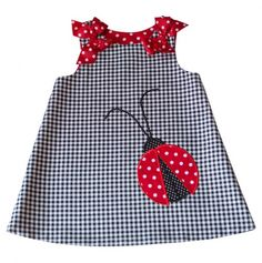 Lady Bug Check Dress No longer on website so it inspires me to sew one. reminds me of a Martha Pullen A-line dress reversible The Shoulder Bows are pinned on removable for washing.
