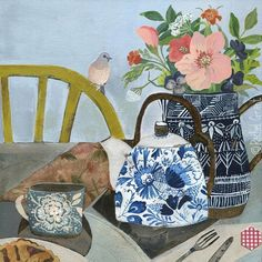 Illustration by Rachel Grant Art And Illustration, Painting Still Life, Still Life Art, Painting Inspiration, Art Inspo, Rachel Grant, Art Grants, Beautiful Collage, Arte Floral