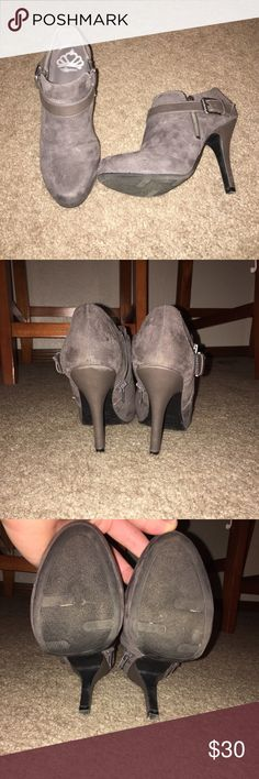 "Grey Fergalicious Booties Grey booties with a 3"" heel. Fergalicious brand. Only been worn once so they're in perfect condition. Material is suede. Fergalicious Shoes Ankle Boots & Booties"