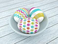 3d spring Easter eggs in ceramic bowl lying on wooden desk