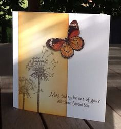 Nice orange butterfly card. Like the position of the stamped sentiment. Distress ink and masking.