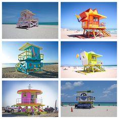 Die farbenfrohen Rettungschwimmerhäusschen sind ein beliebtes Fotomotiv und dürfen bei keinem Miami-Besuch fehlen.