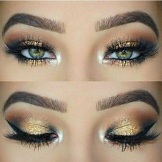 Smokey eye shadow gold eye makeup gorgeous look! #eyeshadow #followme #eyemakeup #bestpins