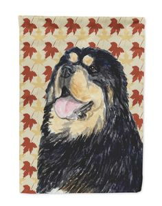 Tibetan Mastiff Fall Leaves Portrait Flag Garden Size