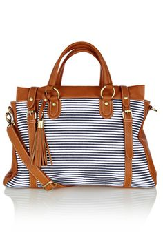 This stylish womens shoulder bag has double handles to top and longer  adjustable strap to wear · Striped Tote BagsTote HandbagsPurses And  HandbagsSummer ... fd52782e70596