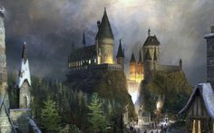 fa08950b74d50f065e0c981c2b8b7f2d  fantasy castle fantasy art - Harry Potter Behang