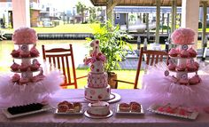 Pretty Pink Princess with Tutu cupcake stand.  Possible diy table settings for a Tea Party.