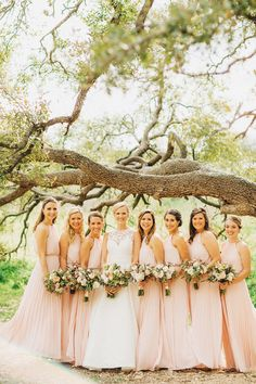 Pastel pink maids, crimped chiffon dress, high-necked gown, Austin wedding, Texas bride // Two Pair Photography