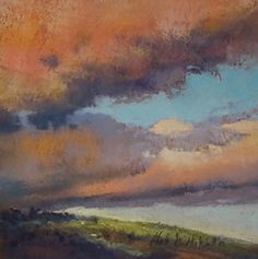 "Passing Storm 6 x 6"" pastel landscape painting by Clark Mitchell  pastel paintings, original art, art for sale, landscape paintings, California paintings, plein air, plein air paintings, big sky, clouds, storms, landscape paintings for sale, canvas artwork for sale, original fine art for sale, original oil paintings for sale, framed wall art, painted landscape, great landscape artists, scenery paintings, beautiful landscape paintings,"