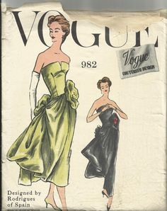 With a different necklace and some cap sleeves, this would be one stunner of a gown!  #vintage #gown #pattern #1950s #couture
