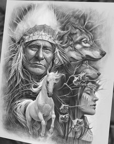 ideas for tattoo designs wolf native american Native American Drawing, Native American Tattoos, Native Tattoos, Native American Pictures, Native American Artwork, Native American Wisdom, Native American Beauty, Indian Pictures, American Indian Art