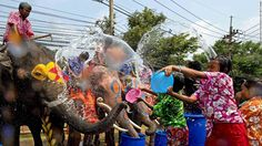 Songkran Festival is a 3 day long festival in Thailand where people in the street have a water fight.