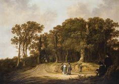 Albert Cuyp - Heer en een dame op een pad aan de rand van een bos