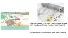 KAISERCRAFT - KAISERCOLOUR ARTISTS COLOURING PENCILS 36 PACK WITH 3 FREE DOVECRAFT COLOUR YOUR OWN WASHI TAPE ROLL  KaiserCraft - KaiserColour Artists Colouring Pencils 12/pkg with 1 Free Dovecraft Colour Your Own Washi Tape Roll. You will received a random design of the Washi Tape Roll. KaiserCraft - KaiserColour Colouring Pencils. These artists pencils feature an ergonomic triangular shape for easier use and a comfortable grip. Available in store and online!! Love 'em