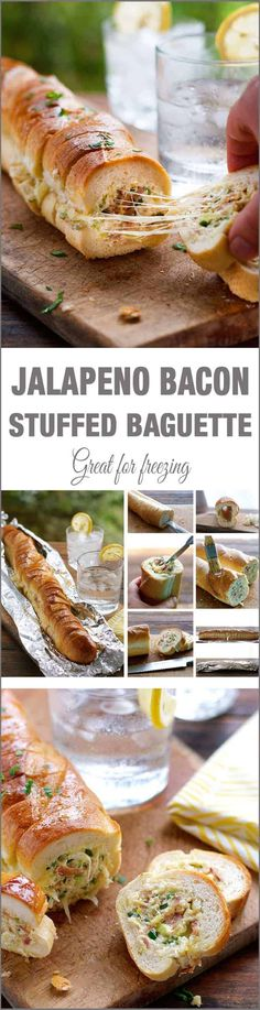Cheesy Jalapeno Bacon Stuffed Baguette with Gar.- Cheesy Jalapeno Bacon Stuffed Baguette with Garlic Butter Recipe – … Cheesy Jalapeno Bacon Stuffed Baguette with Garlic Butter Recipe – MOMORIRECIPES - Stuffed Jalapenos With Bacon, Jalapeno Bacon, Stuffed Baguette, Stuffed Bread, Tapas, Fingers Food, Pan Relleno, Snacks, Appetizer Recipes