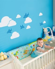 Airplanes in the Sky Decal Set for above crib. White clouds with cobalt blue planes.