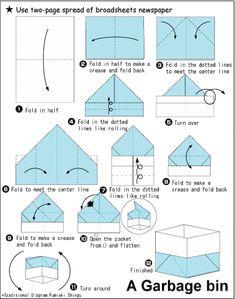 Origami box from the newspaper - Newspaper Crafts Origami Bowl, Origami Car, Origami Mouse, Origami Star Box, Origami Fish, Oragami, Origami Tutorial, Origami Instructions, Origami Design