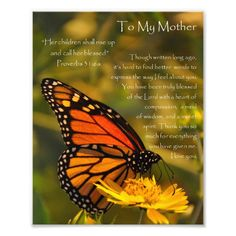 """Monarch Butterfly """"Proverbs 31:6"""" Mother Thank You Photo Print"""