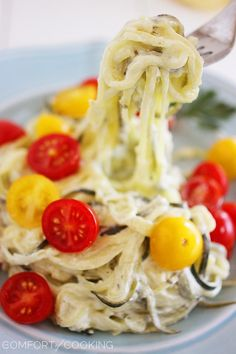 The Comfort of Cooking » Creamy Lemon Zucchini Noodles with Tomatoes