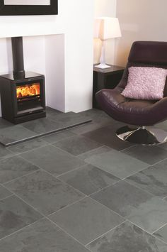 Graphite Black natural slate looks beautiful in  any living space.