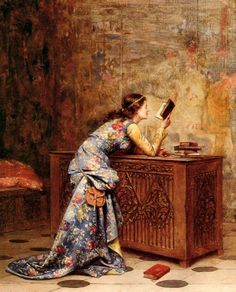 < Captivated > Adolphe-Alexandre Lesrel: 알렉산더 러셀은 역사적 장면들과 이상화된, 로맨틱화된 작풍으로 유명하다. 그림 속 여인은 옷을 다 차려입고
