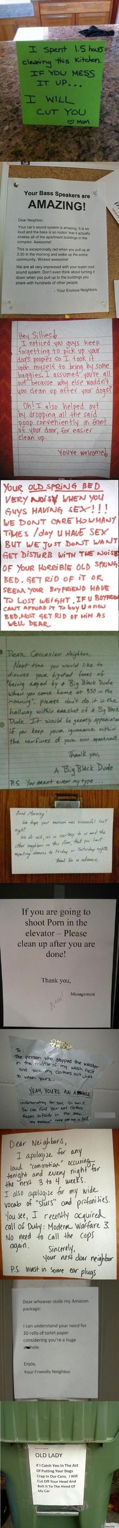 Some hilarious! Could never, would never live in an apartment for some of those reasons. Thank goodness I never had to!