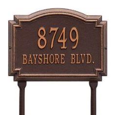 Address Plaque 14 x 10.25 x 1.25 inch Standard Lawn Aluminum- Williamsburg- Two Line