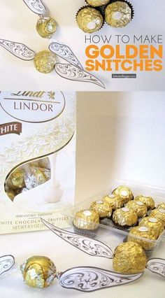 How to make Golden Snitches with free printable wings. This would be fun for a Harry Potter party (or wedding). All you need is Lindor truffles or Ferrero Rocher.