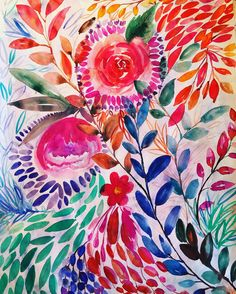 Floral movement Watercolor Art, Art Work, Design Art, Rooster, Floral, Painting, Animals, Etsy, Artwork