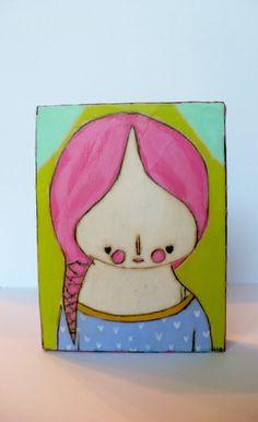 Bright Pink braided heart girl folk art painting mixed by LiaLane, $28.00 Hipster Art, Old Paintings, Nursery Wall Decor, Mixed Media Painting, Naive, Pink Hair, Bright Pink, Folk Art