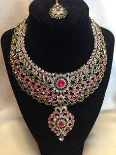 Pink, Green, and white Stone Studded Necklace Set