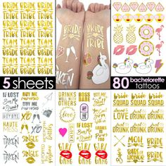 bride and bride tribe gold temporary tattoos for a bachelorette party naughty bridal shower favor gifts