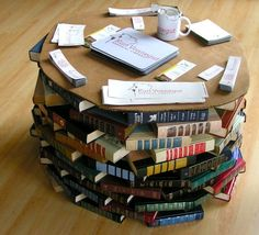 Repurpose Books - DIY Table and some other cool ideas to use old books for...and egg cartons, too