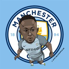 Manchester City No.3 Bacary Sagna Fan Art City Illustration, Fan Art, Manchester City, Graphic Art, Soccer, Seasons, Club, Fictional Characters, Collection