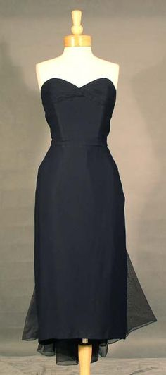 ULTIMATE Bombshell Navy Blue Strapless 1950's Wiggle Dress w/ Organza Train via Vintageous.