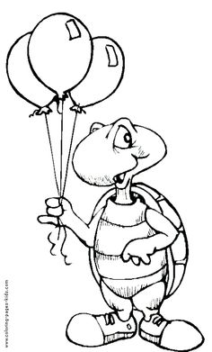 Turtle With Balloons Color Page Birthday Holiday Coloring Pages Plate Sheetprintable Picture