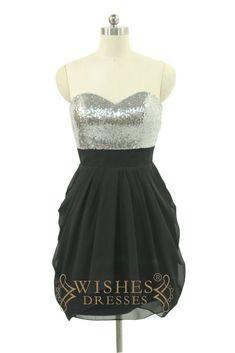 A-line Shiny Silver Sequins Black Chiffon Bridesmaid Dress AM536