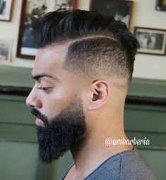 Deep Parted Pompadour Haircut