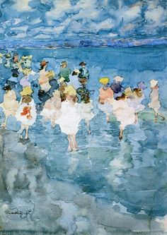 Maurice Prendergast - Children at the Beach. Maurice Brazil Prendergast (October 1858 – February was an American Post-Impressionist artist who worked in oil, watercolor, and monotype. He exhibited as a member of The Eight, though the delicacy Art And Illustration, Impressionist Artists, Oil Painting Reproductions, Fine Art, Art Plastique, Strand, Painting & Drawing, Watercolor Paintings, Watercolor Paper
