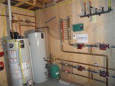 Hydronic Heating and domestic hot water supply. Heated Floor, Hydronic Heating, Radiant Floor, Water Supply, Heating And Cooling, Plumbing, Future House, Floors, Basement