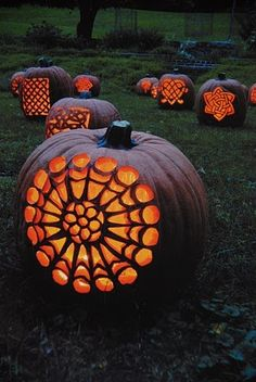 A patch of patterned Jack-o-Lanterns