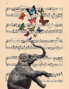 ART butterflies and musical elephant ART butterfly by BlackBaroque