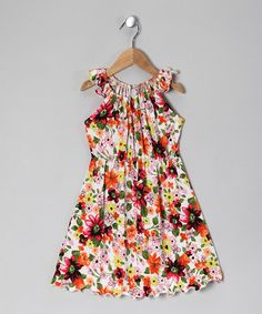 Every little girl needs a fabulous frock that makes her feel fun and fancy-free. This dandy dress does the job with soft cotton, pretty flowers and a fluttery angel sleeves.100% cottonMachine wash; tumble dryMade in the USA