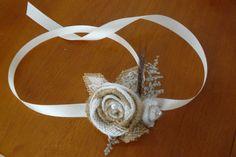 Wedding, Burlap Fabric Corsage, Prom Corsage, Ivory Burlap Cream Corsage, Mothers wrist corsage, Sola Bouquet. $18.00, via Etsy.  As A Dress Sash for Bridesmaids!!